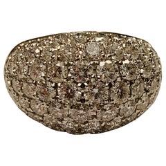Elegant Timeless Dome Shaped Platinum Diamond Pavé Ring