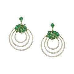 Elegant Topaz Green Zirconia Yellow Gold Designer Earrings for Her