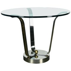 Mid Century Modern Center Table in Chrome Glass and Brass by Karl Springer