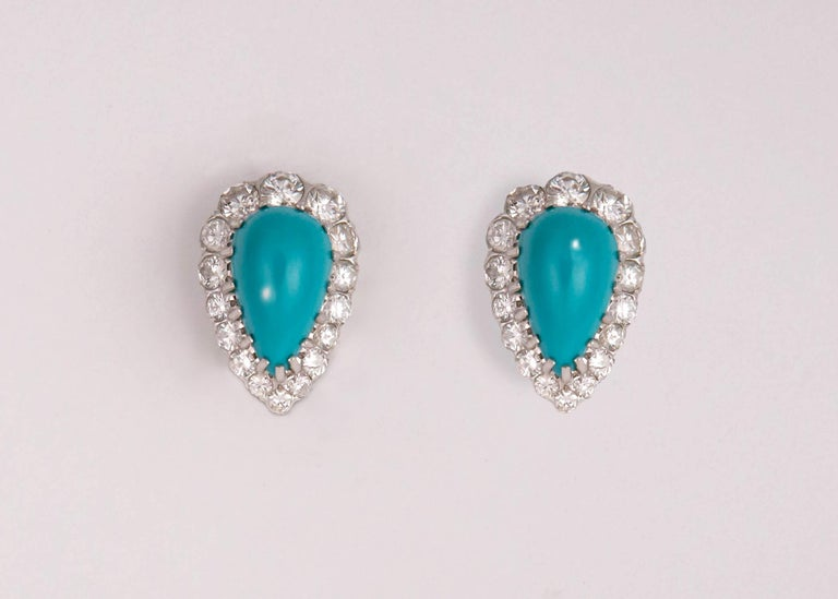 Contemporary Elegant Turquoise and Diamond Earrings For Sale