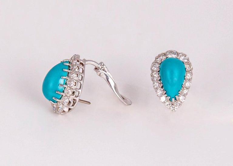 Brilliant Cut Elegant Turquoise and Diamond Earrings For Sale