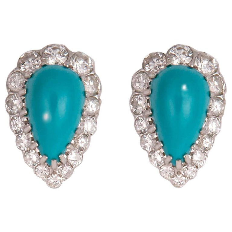 Elegant Turquoise and Diamond Earrings For Sale