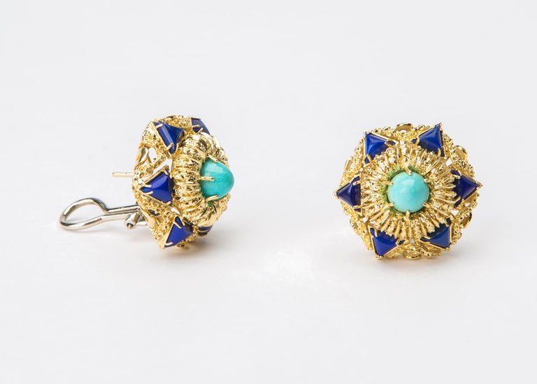 Contemporary Elegant Turquoise Lapis Gold Earrings For Sale