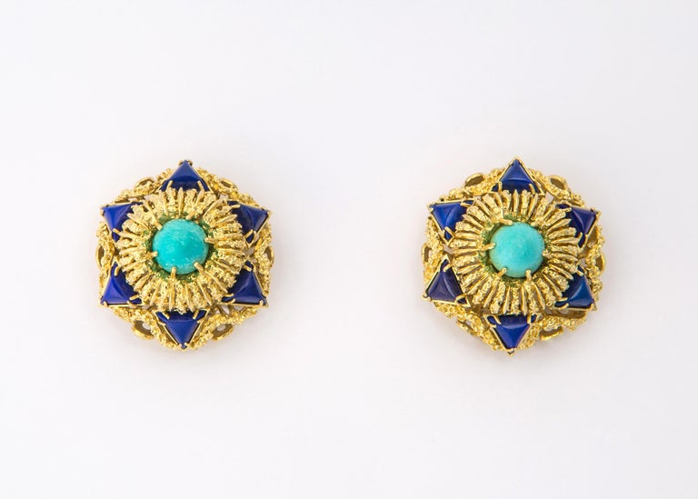 Elegant Turquoise Lapis Gold Earrings In Excellent Condition For Sale In Atlanta, GA