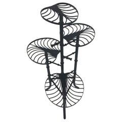 Elegant Unique Black Cast Wrought Iron Faux Bamboo Plant Stand