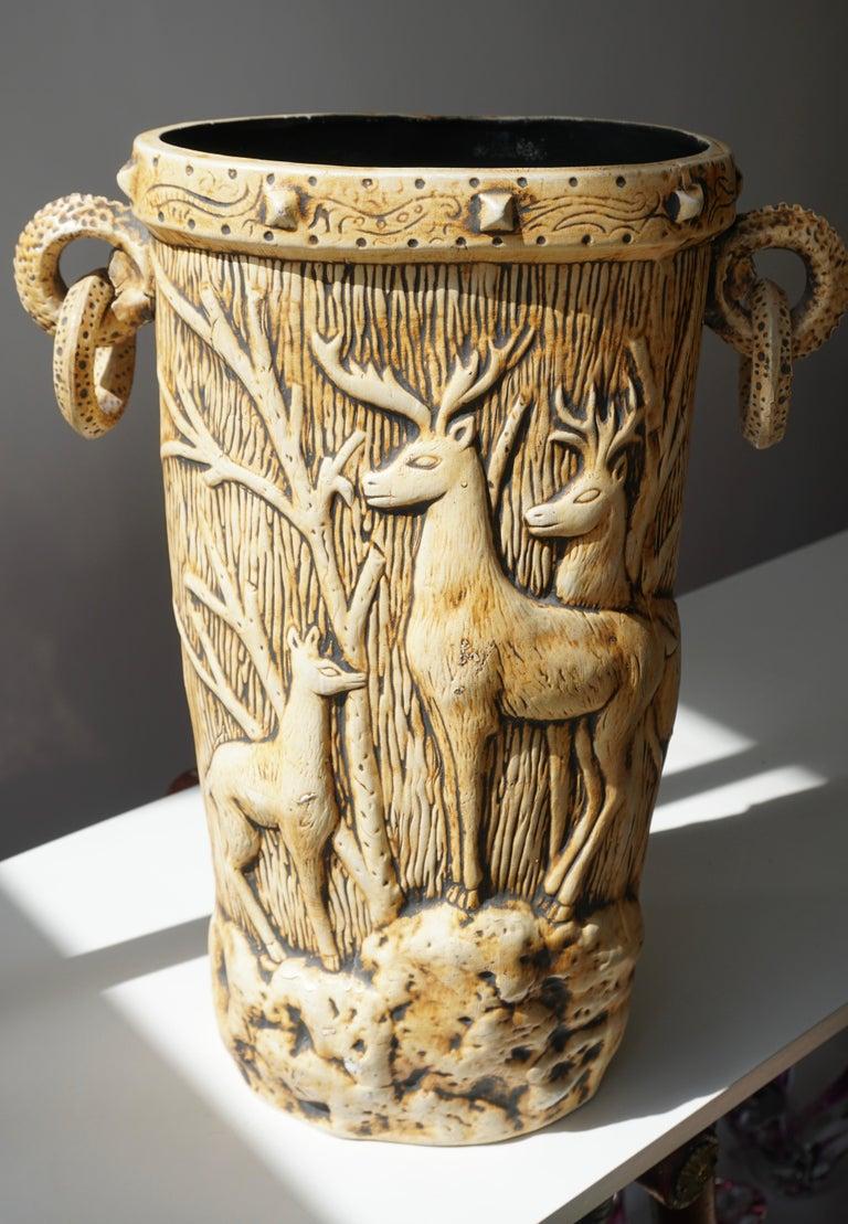 Elegant Vase with Deer Motifs, 1950s For Sale 3