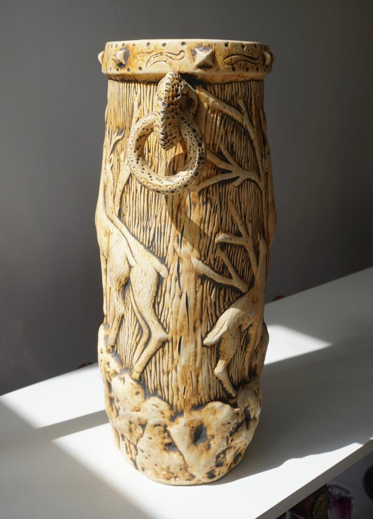Elegant Vase with Deer Motifs, 1950s For Sale 4
