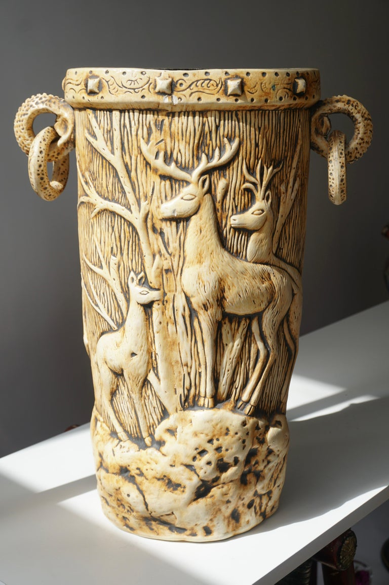 Elegant Vase with Deer Motifs, 1950s For Sale 5