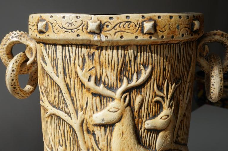 Elegant Vase with Deer Motifs, 1950s For Sale 7