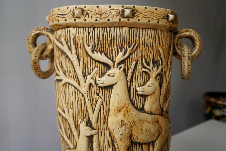 Elegant Vase with Deer Motifs, 1950s For Sale 11