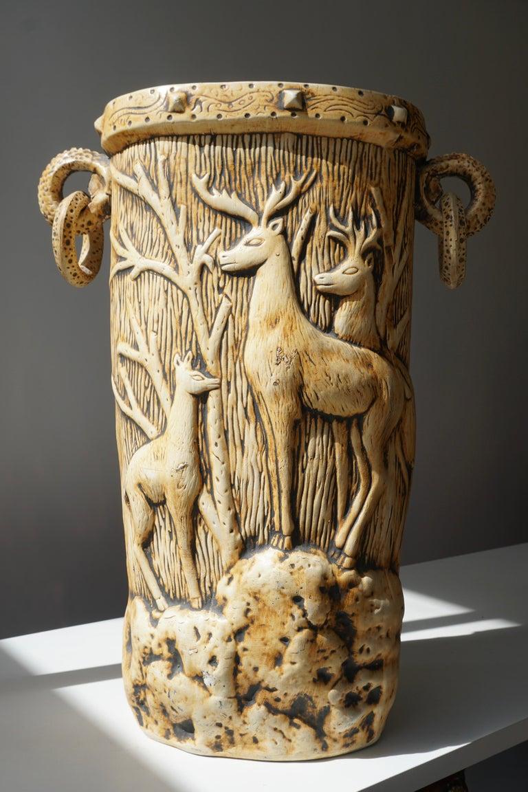 Plaster Elegant Vase with Deer Motifs, 1950s For Sale