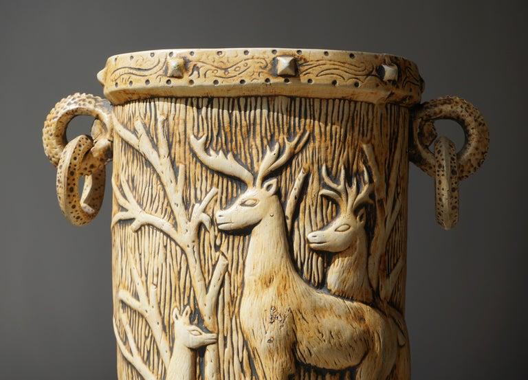 Elegant Vase with Deer Motifs, 1950s For Sale 1