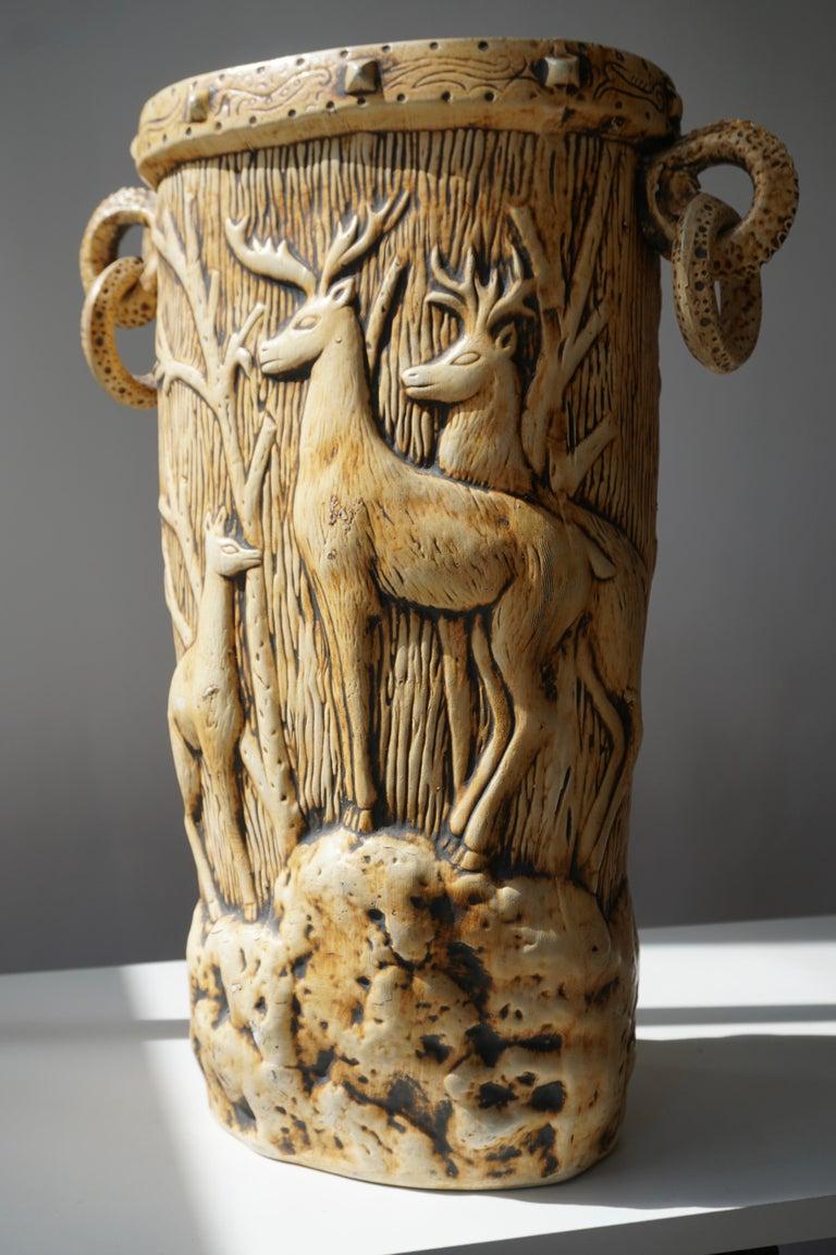 Elegant Vase with Deer Motifs, 1950s For Sale 2