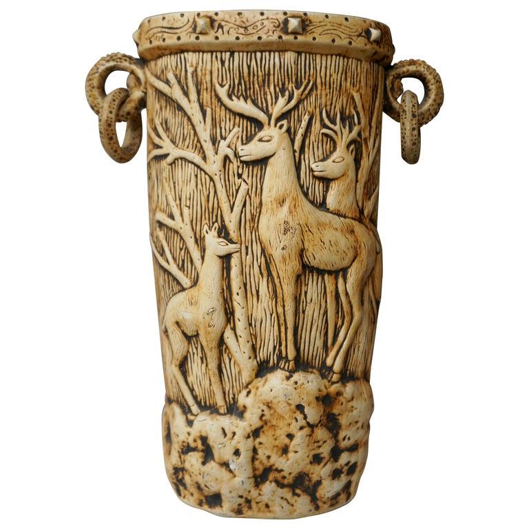 Elegant Vase with Deer Motifs, 1950s For Sale