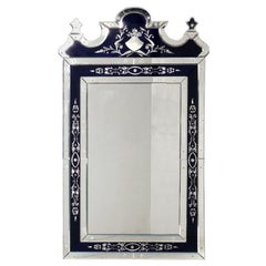 Elegant Venetian Mirror with Navy Blue Mirrored Accents