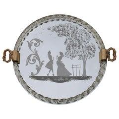 Elegant Venetian Tray Midcentury Italian Design Gold Brass Crystal Engraved