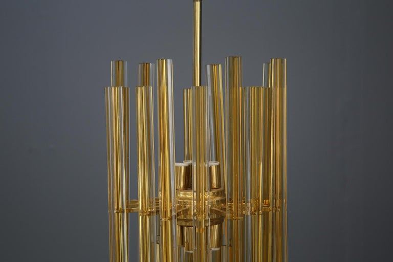 Venini Chandelier Midcentury in Gilded Glass and Brass Elegant, 1950 For Sale 5