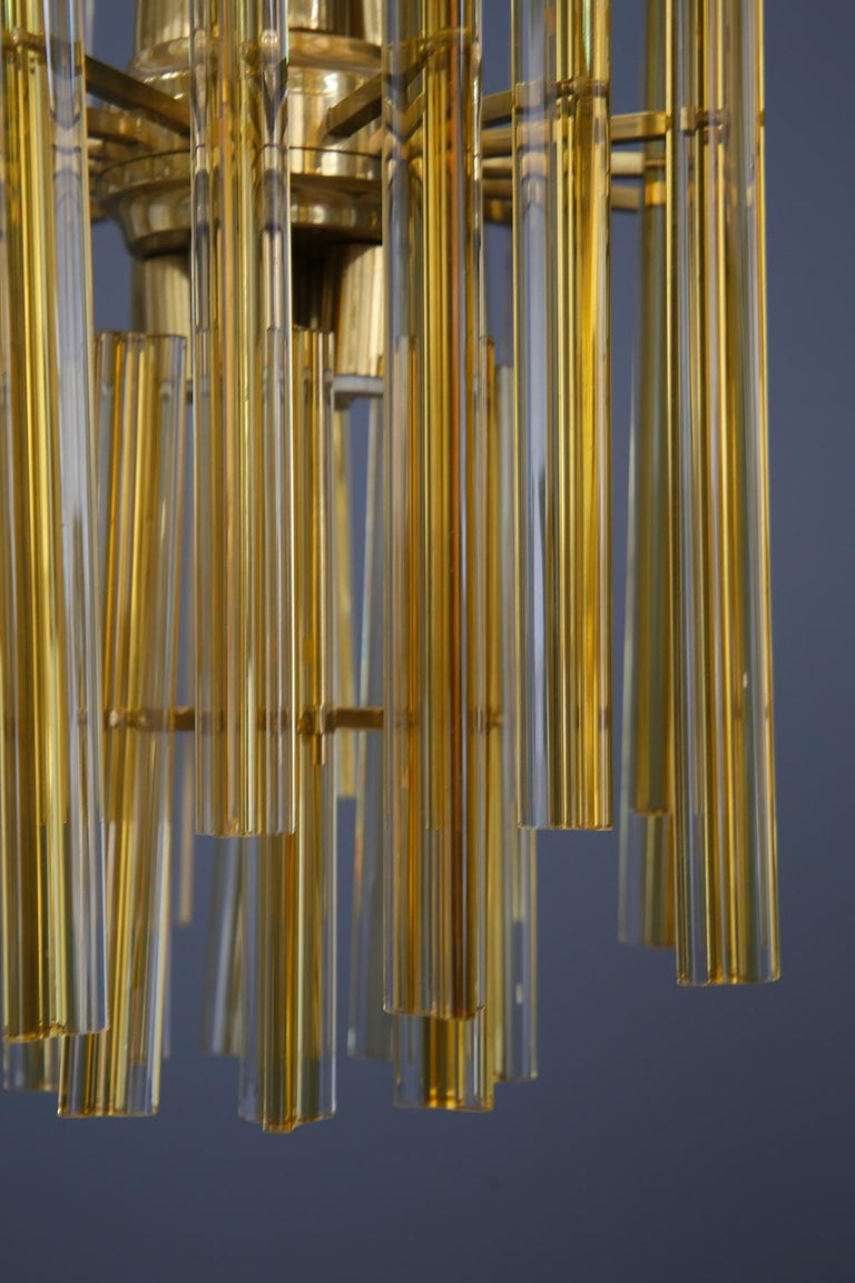 Venini Chandelier Midcentury in Gilded Glass and Brass Elegant, 1950 For Sale 6