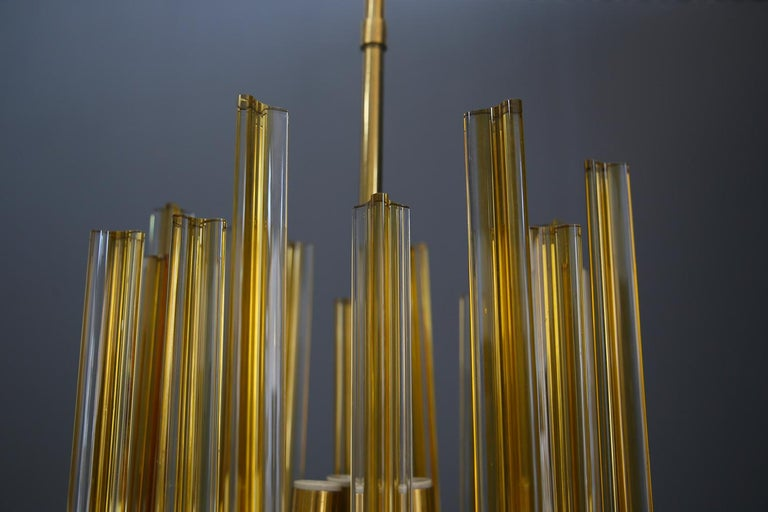 Mid-Century Modern Venini Chandelier Midcentury in Gilded Glass and Brass Elegant, 1950 For Sale
