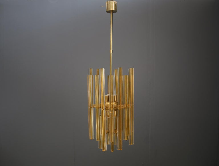 Venini Chandelier Midcentury in Gilded Glass and Brass Elegant, 1950 In Good Condition For Sale In Milano, IT