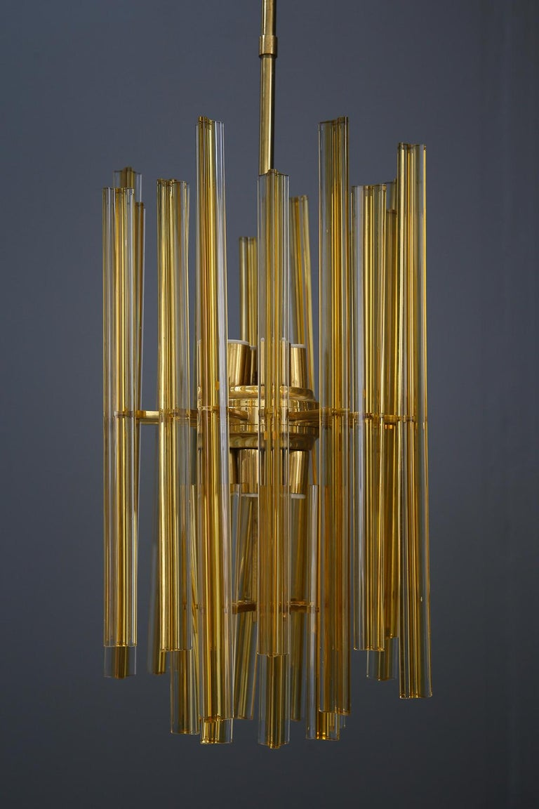 Mid-20th Century Venini Chandelier Midcentury in Gilded Glass and Brass Elegant, 1950 For Sale