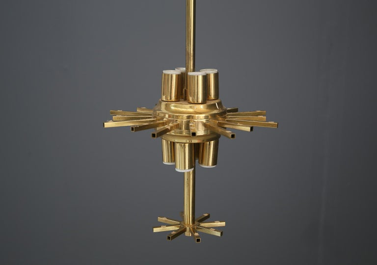 Venini Chandelier Midcentury in Gilded Glass and Brass Elegant, 1950 For Sale 3