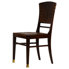 Elegant Viennese Secessionist Embossed Leather and Mahogany Side Chair