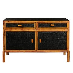 Elegant Vintage Black Lacquer Cane Cabinet with Bamboo Accents, circa 1970