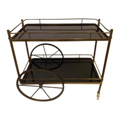 Elegant Vintage Brass and Black Glass Bar Cart
