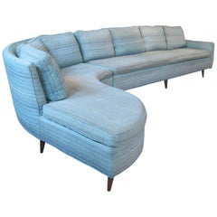 Elegant Vintage Curved Sectional Sofa by Erwin Lambeth