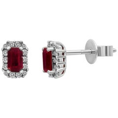 Elegant Vintage Style Red Ruby White Diamond White Gold Stud Earrings