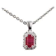 Elegant Vintage Style Ruby White Diamond White Gold Pendant Necklace