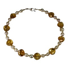 Elegant Wavy Citrine and Baroque Pearl Choker Necklace