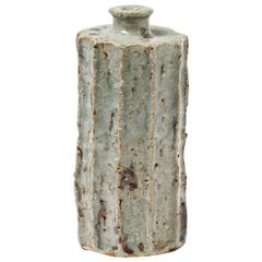 Elegant White and Grey Ceramic Bottle by Gutman French Handmade Decorative Art