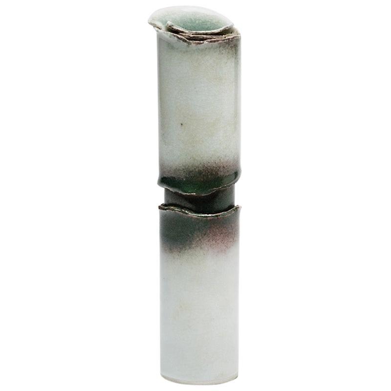 Elegant White Ceramic Porcelain Ceramic Vase by Tim Orr, 1970