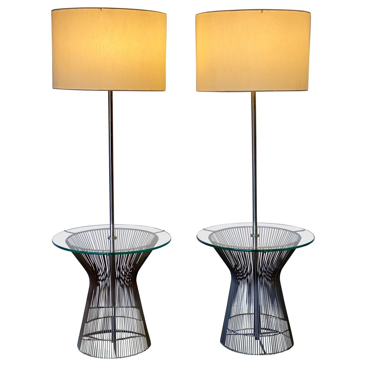 Elegant Wire Floor Lamps with Glass Tray Table by Laurel Lamp Company