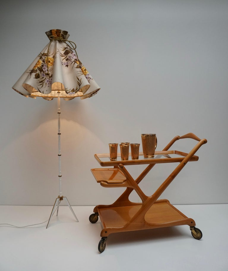 Italian Elegant Wooden Bar Cart Serving Trolley, Italy, 1950s For Sale