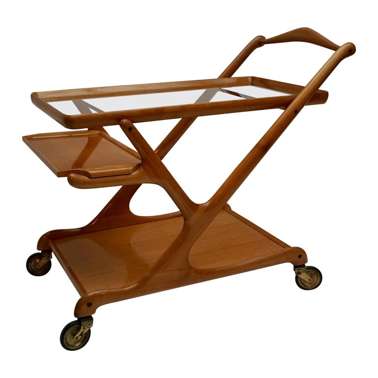 Elegant Wooden Bar Cart Serving Trolley, Italy, 1950s For Sale