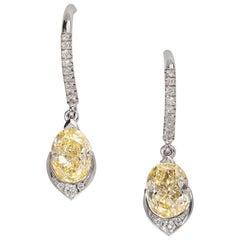 Elegant Yellow Diamond Earrings with Diamond Detail