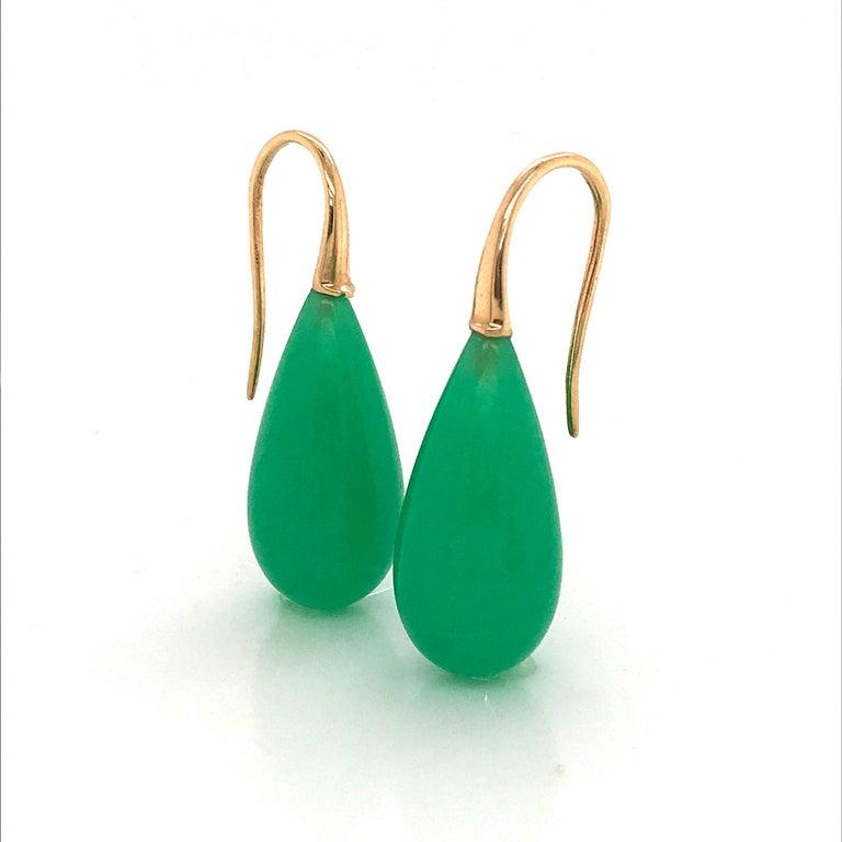 Elegant Yellow Gold and Jade Drop Earrings 18 Karat For Sale 4