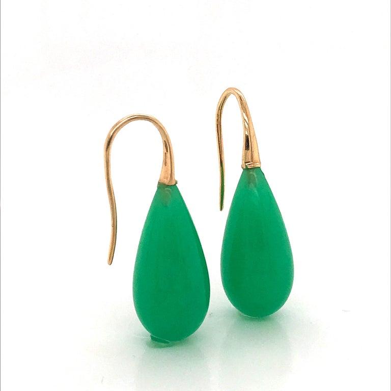 Elegant Yellow Gold and Jade Drop Earrings 18 Karat For Sale 5