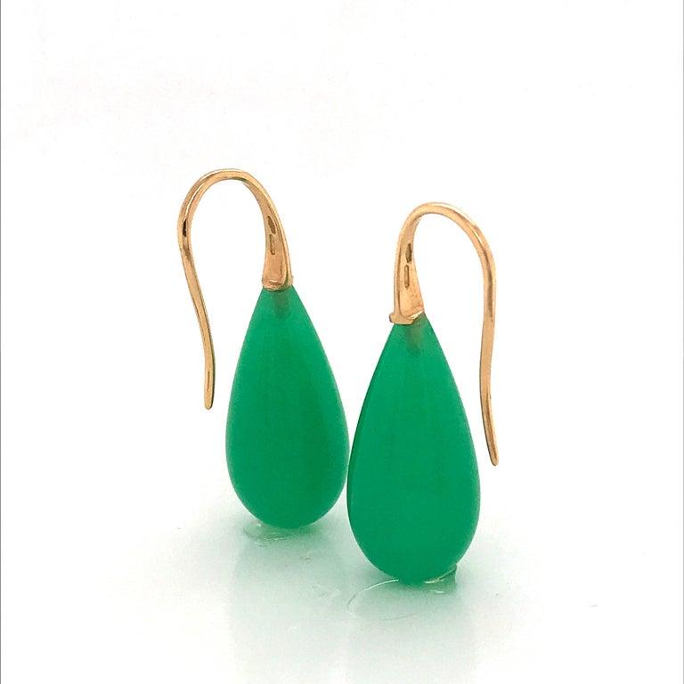 Elegant Yellow Gold and Jade Drop Earrings 18 Karat For Sale 6