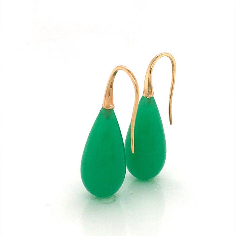 Elegant Yellow Gold and Jade Drop Earrings 18 Karat For Sale 7
