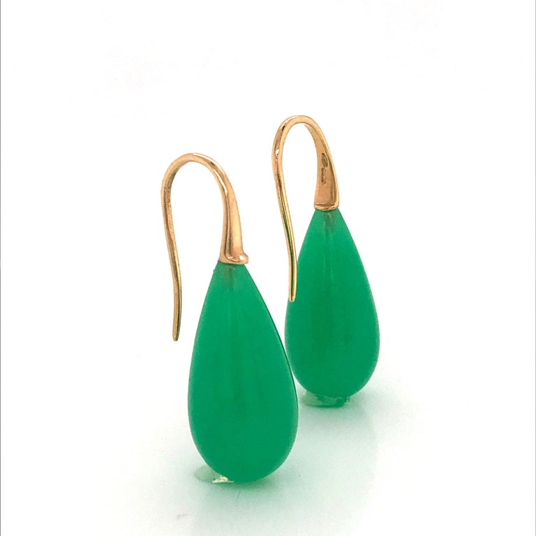 Elegant Yellow Gold and Jade Drop Earrings 18 Karat 8