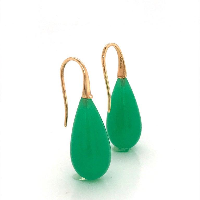 Elegant Yellow Gold and Jade Drop Earrings 18 Karat For Sale 8