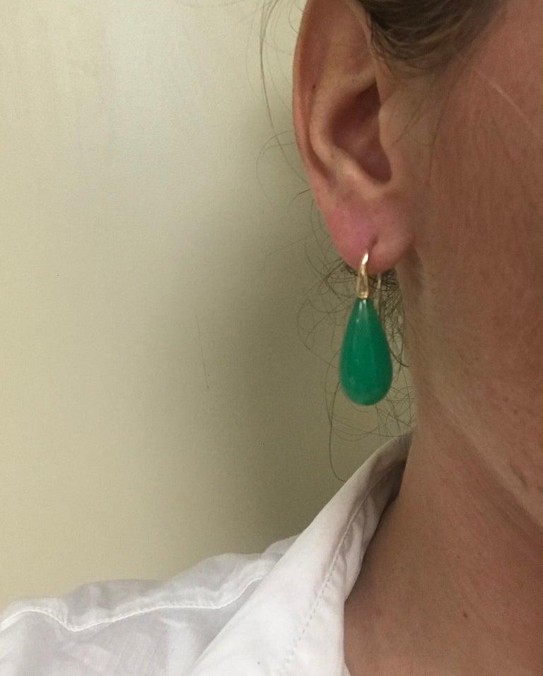 Elegant Yellow Gold and Jade Drop Earrings 18 Karat 9