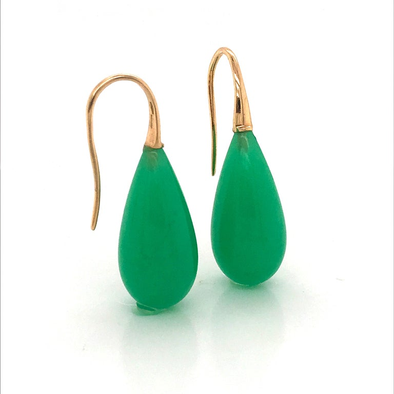 Women's Elegant Yellow Gold and Jade Drop Earrings 18 Karat