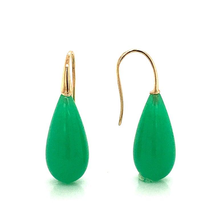 Elegant Yellow Gold and Jade Drop Earrings 18 Karat For Sale 3