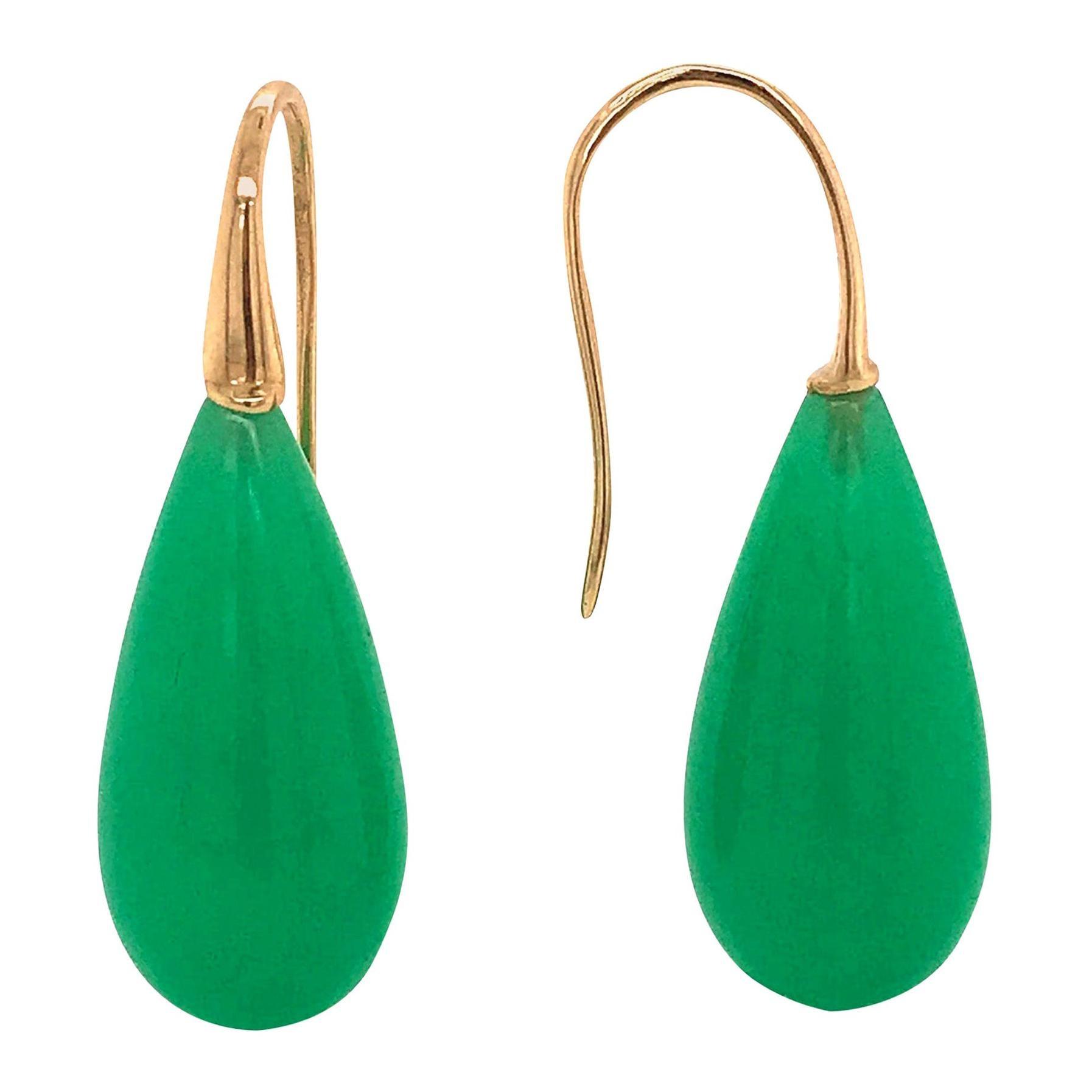 Elegant Yellow Gold and Jade Drop Earrings 18 Karat