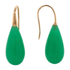 Elegant Yellow Gold and Jade Drop Earrings 18 Karat